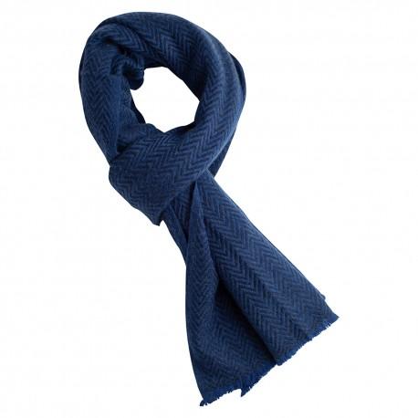 Billede af Blåt halstørklæde i sildebensmønstret cashmere/uld