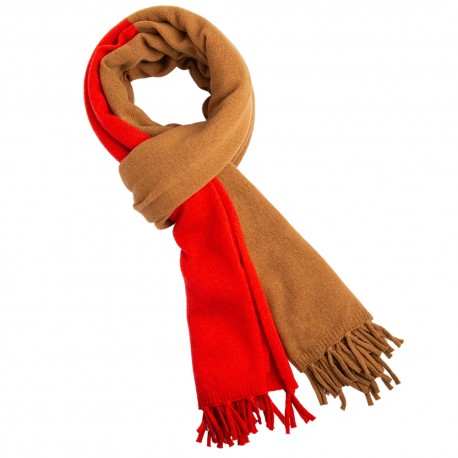 Billede af Camel/orangerødt halstørklæde i merino/cashmere