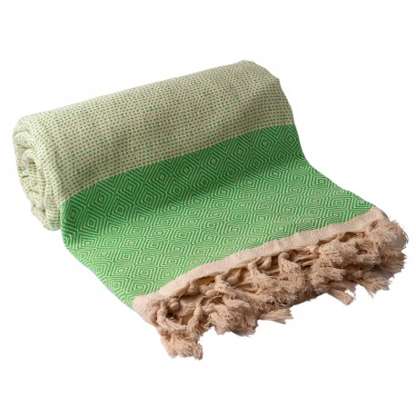 Billede af Grønt/hvidt sengetæppe i bomuld