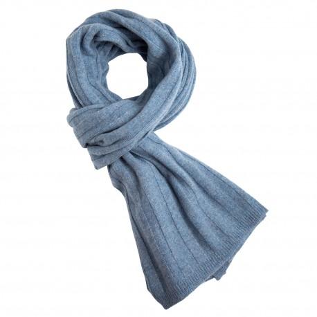 Billede af Dueblåt strikket halstørklæde i cashmere