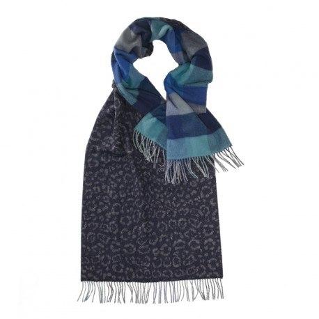 Billede af Blåt halstørklæde med dyreprint og tern
